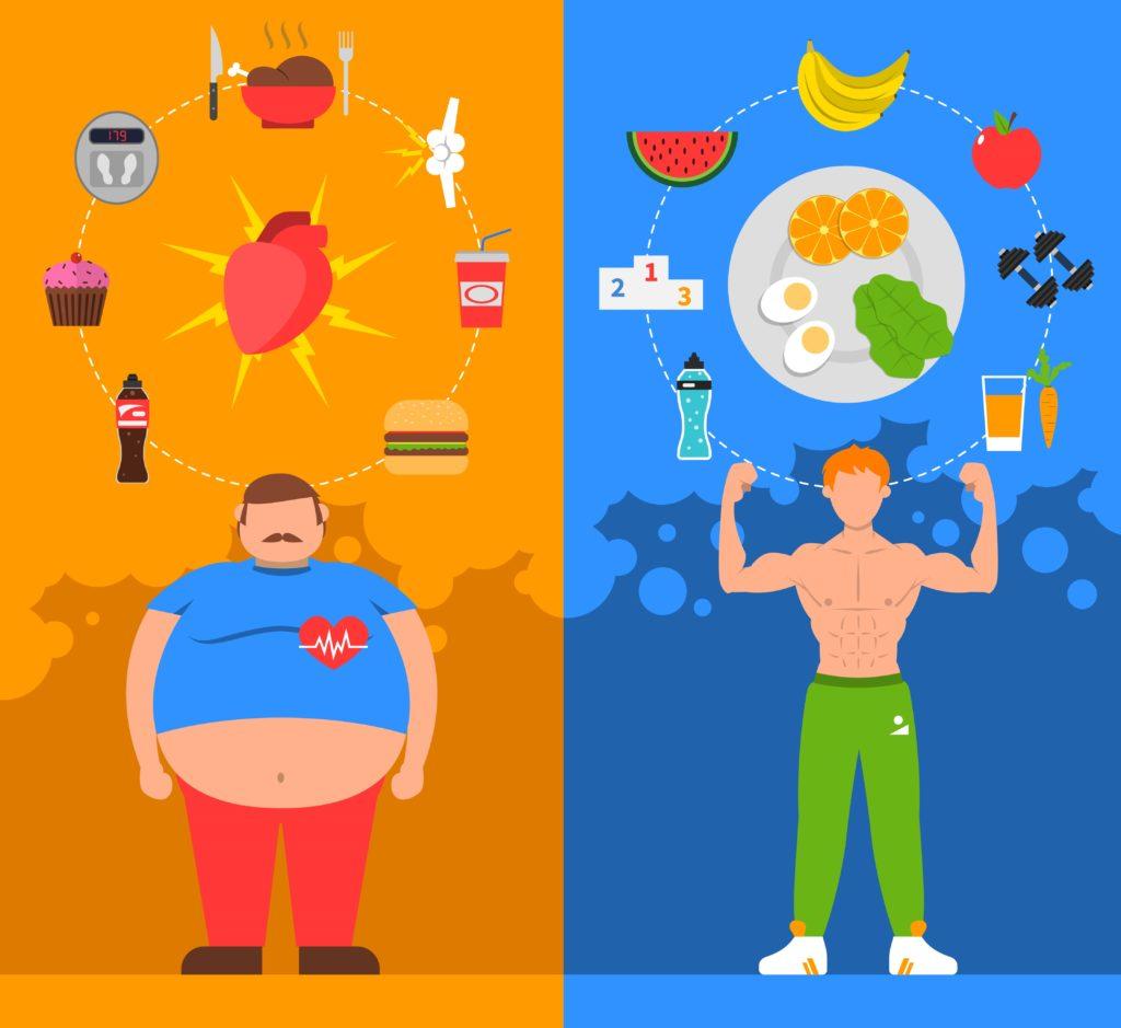 Ilustração de homem que come fast food e homem que come comida saudável