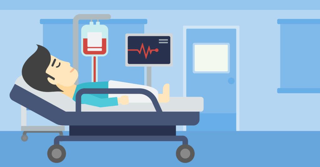 Ilustração de homem de cama no hospital