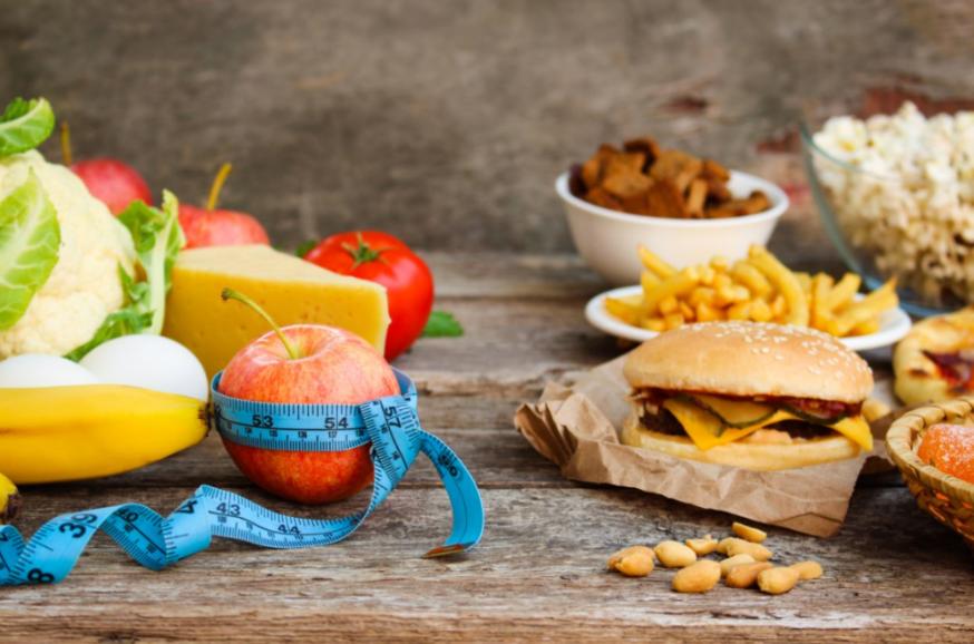 Comida saudável e fast food